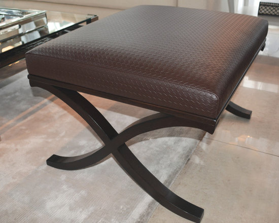 Showroom Pieces - Brown woven leatherette bench in a wenge finish. For more info call us at (305)576-4566!