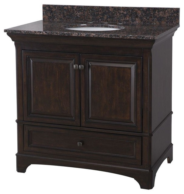 Home Decorators Collection Bathroom Moorpark 37 In Vanity In Burnished Walnut Contemporary