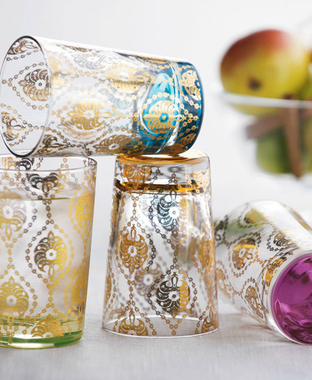 "Four ""Moroccan"" Tea Glasses mediterranean-everyday-glasses"