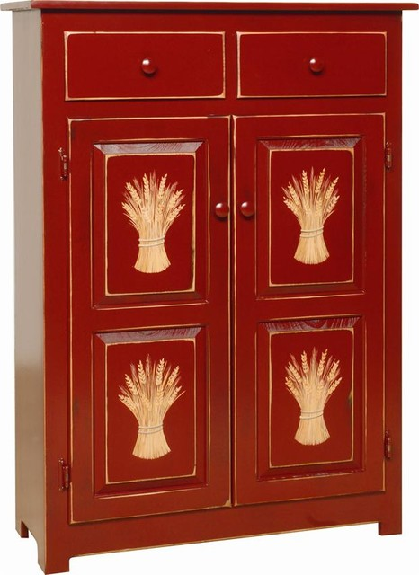 Amish Pie Safe, Cherry - Traditional - Pantry Cabinets - by Dutch Crafters