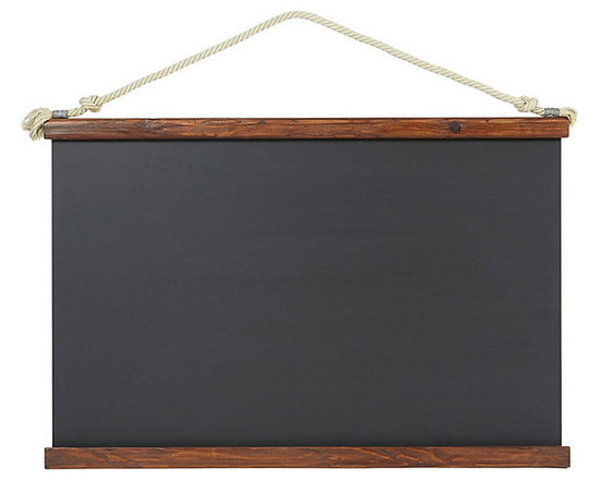 Ballard Designs - Schoolhouse Chalkboard - Bottom lip holds chalk. Chalkboard over metal construction. Saddle finished wood frame. Add vintage style with our Schoolhouse Chalkboard. Hang anywhere for a nostalgic touch to post menus, messages, lists and doodles. Accented by 19th-century European wood frame and rope for hanging.Schoolhouse Chalkboard features: . . .