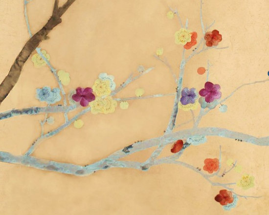 various projects and designs - griffin and wong,   this project was designed for a high-end estate,and was designed for positioning over a bar.   The design shows embroidered flowers at a 1:3 ratio to painted blossoms