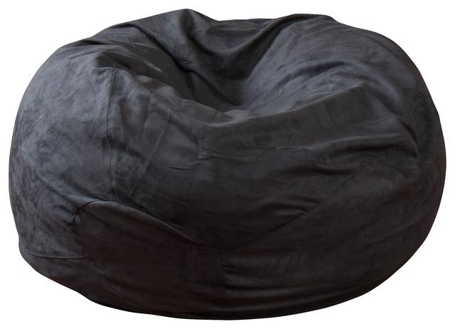 Sammy Black 3 Ft Faux Suede Microfiber Fabric Bean Bag