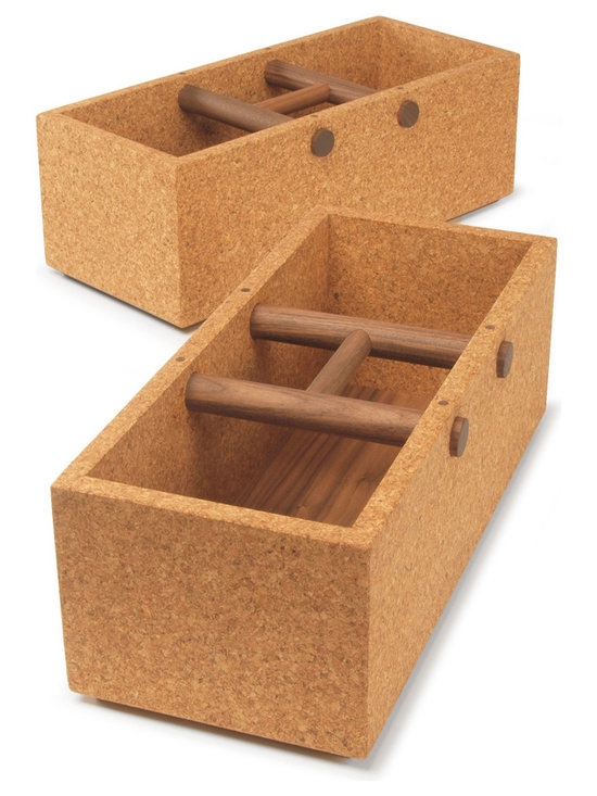 Corkbox by Skram Furniture - Boxes make for great storage, but not for travel. Baskets are good for both, but the handles are troublesome. Corkbox, a delightful and clever piece from Skram Furniture, provides a compact and sturdy alternative as a box-basket hybrid. As can be gleaned from its name, Corkbox is an open-top container made from high-density sustainably harvested cork, but its special feature is the H-shaped handle set below the box's top edge. The nifty handle makes it easy to transport Corkbox from one place to another, and even outside courtesy of the durable walnut or European beech used for the handle and box base. The three sizes – small, large, and square – are conveniently suited to housing an endless variety of different wares.