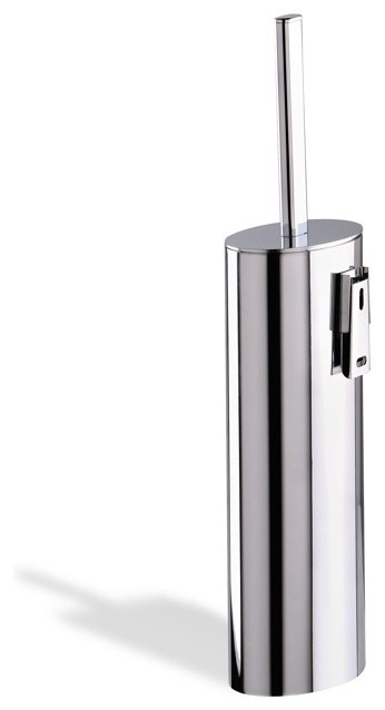 Wall Mounted Oval Brass Toilet Brush Holder, Chrome contemporary-toilet-brushes-and-holders