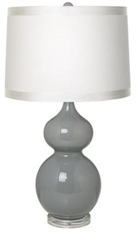 White Drum Shade Double Gourd Slate Grey Ceramic Table Lamp transitional-table-lamps
