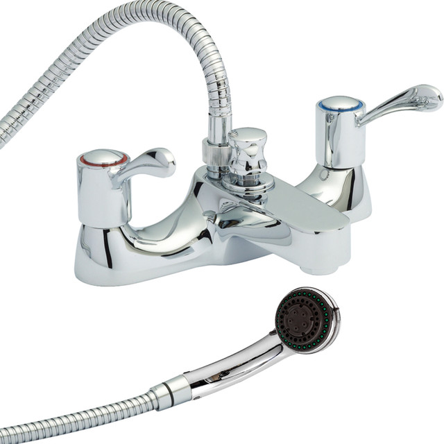 Modern Chrome Deck Mounted Bath Filler Tub Mixer Faucet With Handheld Shower