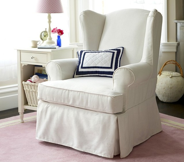 Slipcovered Wingback Glider