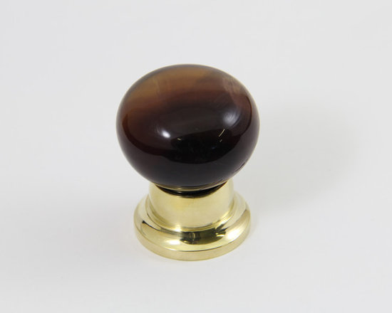 Mushroom Brown Fluorite Knob with Bel Fitting in Polished Brass Finish - Mushroom Brown Fluorite Knob with Bel Fitting in Polished Brass Finish for more details for this product please call 925-449-5040