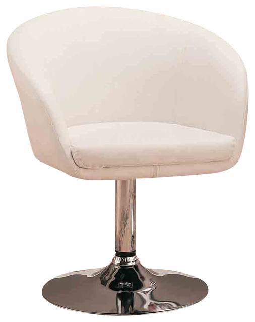 Contemporary white upholstered in faux leather steel base for Leather dining chairs with arms
