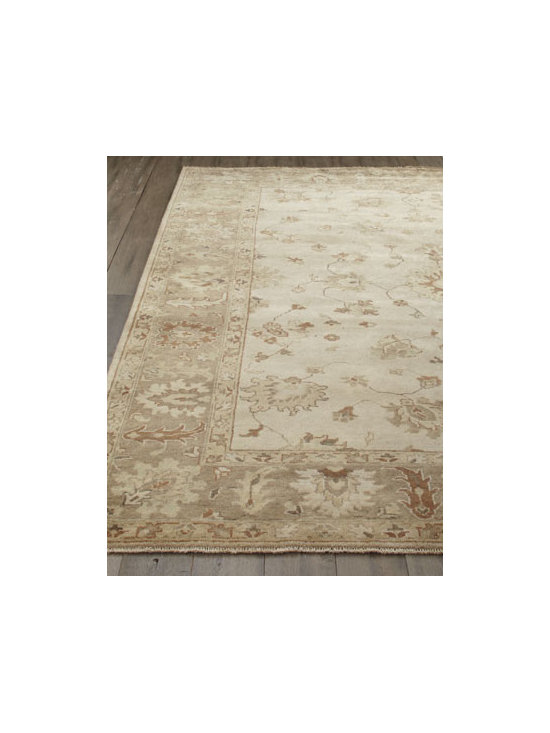 "Exquisite Rugs - Exquisite Rugs ""Sandy Vines"" Oushak Rug - A traditional vine motif highlighted in light taupe, sand, and cool gray makes this handmade rug the perfect choice for any room. Durable and intended for foot traffic. Hand knotted of wool on a cotton foundation. Hand trimmed. Washed for an antiqued..."
