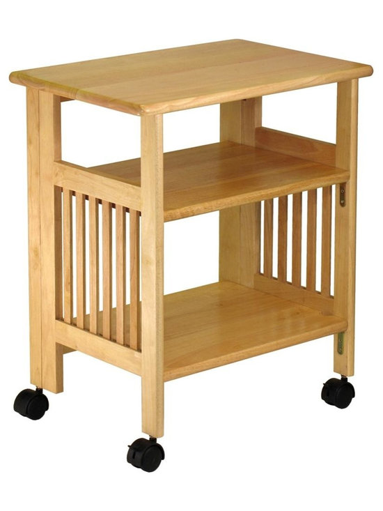 Winsome Wood - Folding Kitchen/Dining Cart w Natural Finish - * Natural finish. Wood. Folds for easy storage or moving to another room. Contains 2 shelves. Handy caster weels. Assembly required. 24 in. L x 16.2 in. W x 27.2 in. H. 33 lbs