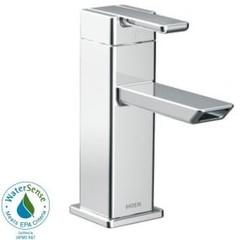 MOEN 90 Degree Single Hole Single-Handle Low-Arc Bathroom Faucet in Chrome-S6700