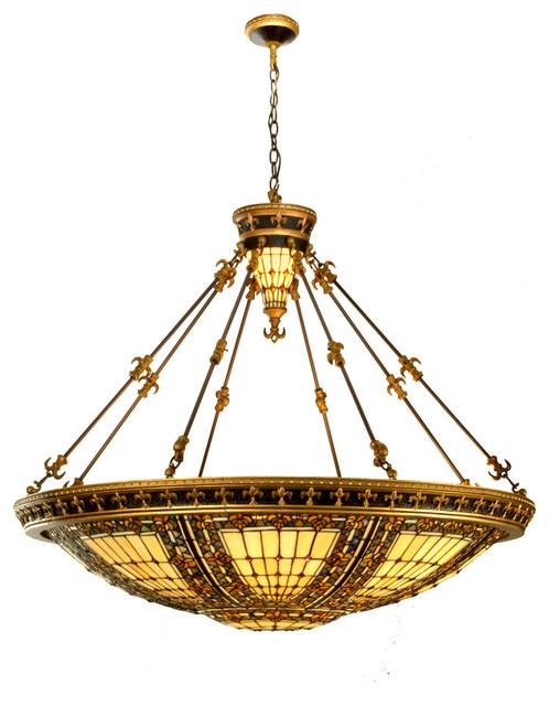 "Meyda Lighting 49726 45""W Fleur-De-Lis Inverted Pendant traditional-pendant-lighting"