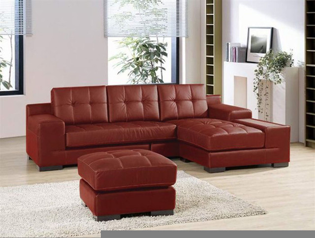Dico orange/ brown leather sectional sofa. Elegant 2-Pieces Modern Leather Secti contemporary-sectional-sofas