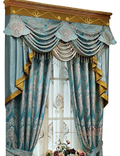 Luxury window curtain blue king traditional curtains Luxury window treatments