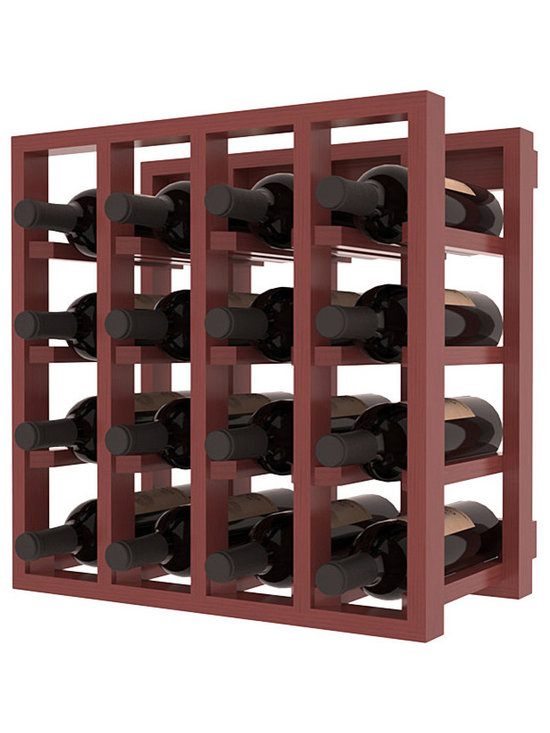 Lattice Stacking Wine Cubicle in Pine with Cherry Stain + Satin Finish - Designed to stack one on top of the other for space-saving wine storage our stacking cubes are ideal for an expanding collection. Use as a stand alone rack in your kitchen or living space or pair with the 20 Bottle X-Cube Wine Rack and/or the Stemware Rack Cube for flexible storage.
