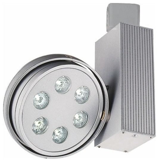 Contemporary silver led round 6 light ju track head for Modern led track lighting