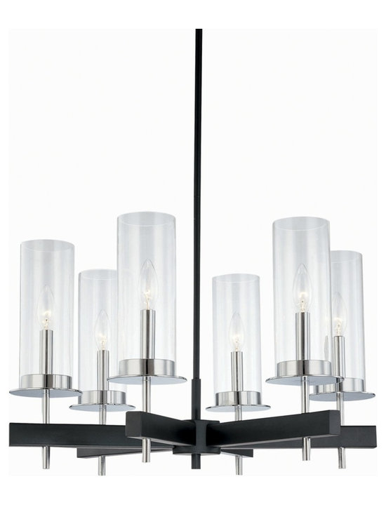 "Sonneman - Robert Sonneman Tuxedo 6 Light Pendant Chandelier - A wonderfully urbane and sophisticated look for the home this chandelier comes from acclaimed designer Robert Sonneman. The piece has clear glass cylinders supported on a black and chrome finish round frame. Includes three 12"" and one 6"" stems to vary the hang height. Takes six 60 watt candelabra bulbs (not included). 24 1/2"" wide. 14 1/2"" high.  Black and chrome finish.  Clear glass.  Takes six 60 watt candelabra bulbs (not included).   24 1/2"" wide.   14 1/2"" high."