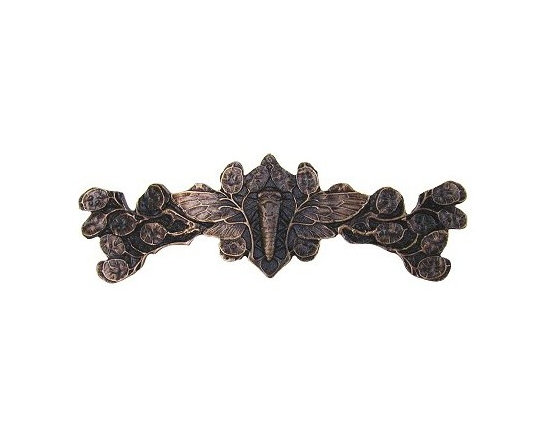 """Notting Hill - Notting Hill Cicada on Leaves Pull - Dark Solid Bronze - Notting Hill Decorative Hardware creates distinctive, high-end decorative cabinet hardware. Our cabinet knobs and handles are hand-cast of solid fine pewter and bronze with a variety of finishes. Notting Hill's decorative kitchen hardware features classic designs with exceptional detail and craftsmanship. Our collections offer decorative knobs, pulls, bin pulls, hinge plates, cabinet backplates, and appliance pulls. Dimensions: 4"""" x 1-1/4"""", Center To Center: 3"""""""