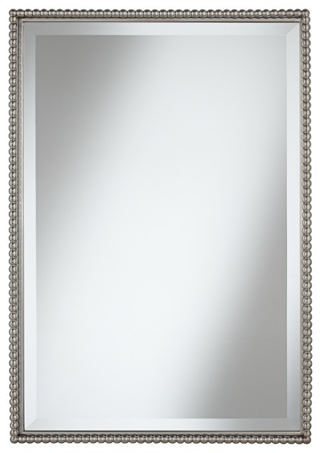 """Contemporary Uttermost Sherise Beaded 31"""" High Rectangular Wall Mirror contemporary-wall-mirrors"""