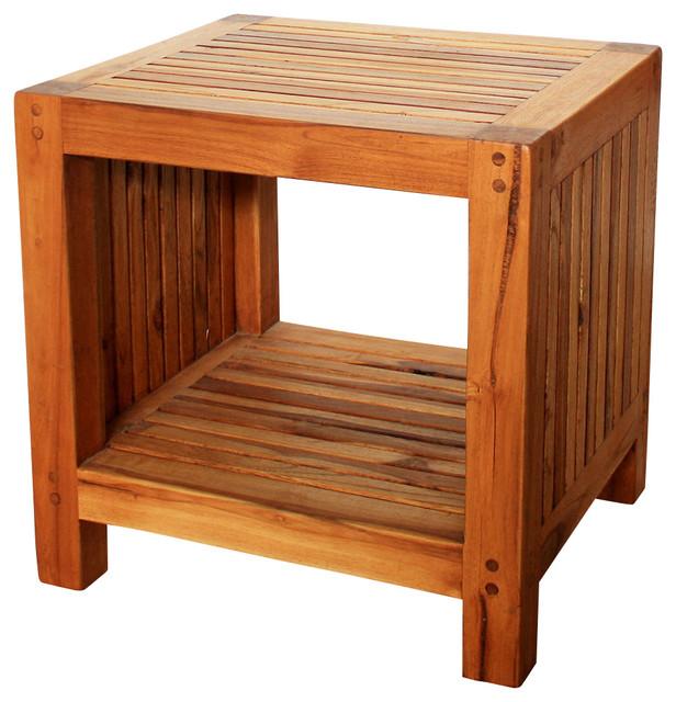 Coffee Table w Shelf 18Lx16Dx18 inch H Teak Slat in Eco Frndly Livos Oak Oil Fin rustic-coffee-tables