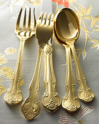 45-Piece Gold-Plated Baroque Flatware Service traditional-flatware