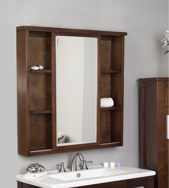 Drake American Birch Wood Dark Mahogany 35-inch Square Medicine Cabinet - Contemporary ...