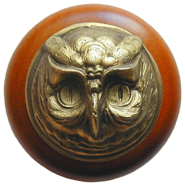 Notting Hill Wise Owl/Cherry Wood Knob - Antique Brass ...