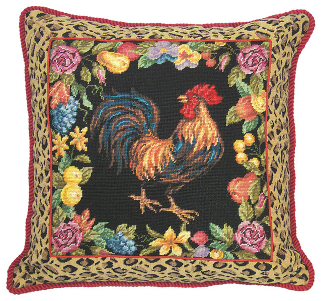 Animal Print Needlepoint Pillows : Rooster with Leopard Needlepoint Decorative Throw Pillow - Contemporary - Decorative Pillows ...
