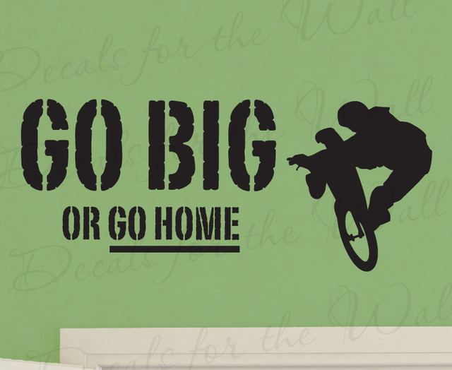 Wall Decal Sticker Quote Vinyl Art Large Go Big or Go Home Boy's Sports Room S21 modern-wall-decals