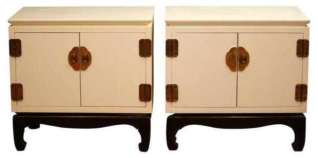 Lane White Asian Style Nightstands - A Pair - Asian - Nightstands And Bedside Tables - san ...