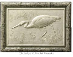 """Heron 8""""x12"""" handmade tile — Fine Art Tileworks traditional-tile"""