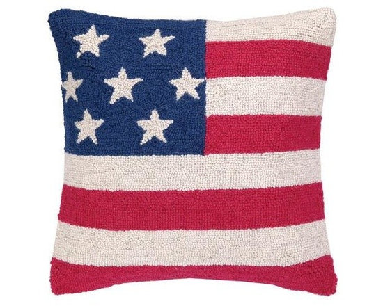 PHI - PHI American Flag Hood Pillow-Blue/Pink - Blue and pink American Flag Hood pillow by PHI