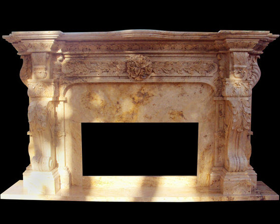 Hand Carved Italian Marble Fireplace Surround Custom in Travertine Marble,Honed - BLOSS STONEWORKS CO.