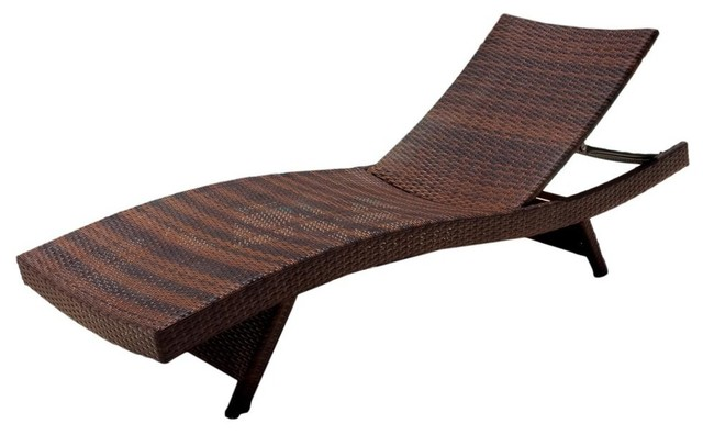 Outdoor wicker chaise lounge in brown contemporary for Belmont 4 piece brown wicker patio chaise lounge set