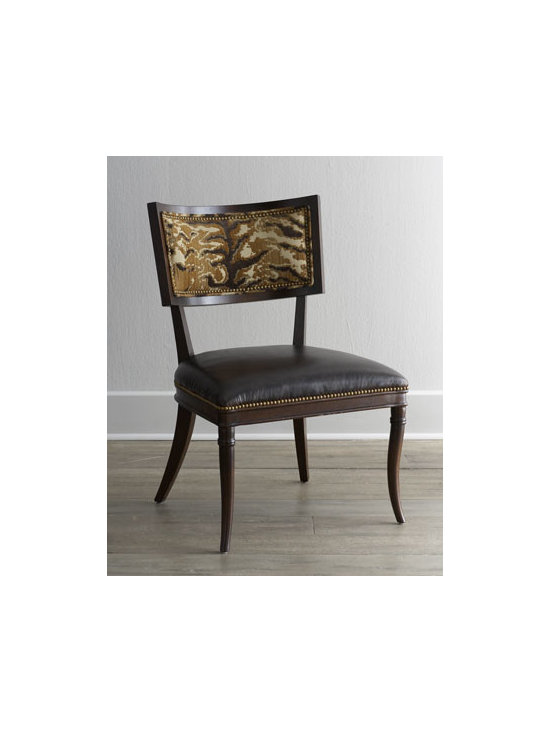 """Massoud - Massoud """"Monte Cristo"""" Chair - Whether your style is casual or formal, this leather-seated side chair creates an ideal setting for prolonged gatherings around the dinner table. Beechwood frame. Polyester/rayon back and leather seat cushion. Finished back. 25""""W x 27""""D x 38""""T; seat,..."""
