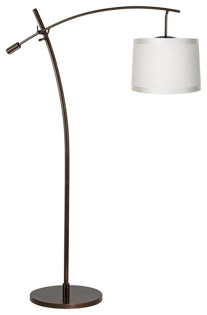 Contemporary tara off white shade balance arm arc floor for Arc floor lamp with white shade