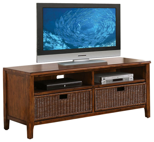 Riverside Furniture Claremont 60 Inch TV Console in Toffee - Modern - Media Storage - by Cymax