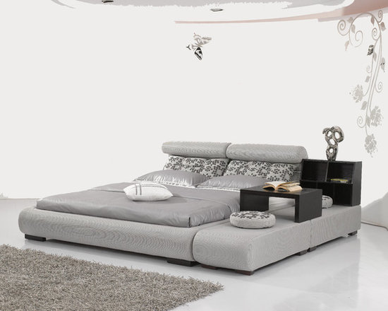 Girard Bed Frame - Ultra hip modern styling with plush microfiber upholstery and included movable side table will make the Girard Microfiber bed set a favorite piece of your bedroom decor for years to come.