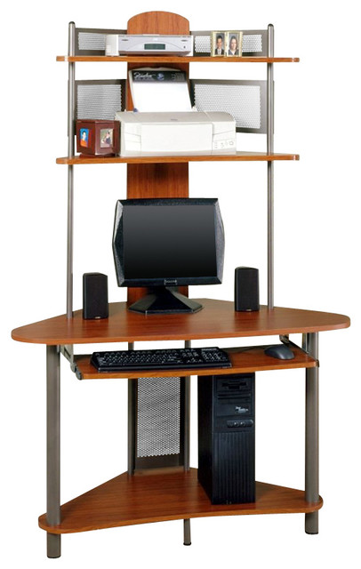Studio RTA A-Tower Corner Wood Computer Desk with Hutch in Pewter and