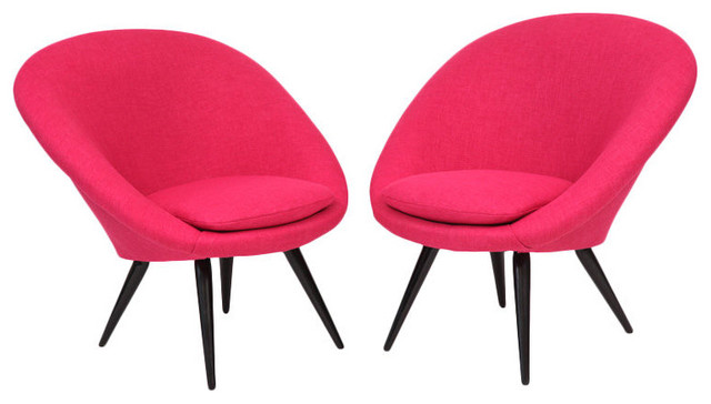 Tickled Pink Italian Lounge Chairs Contemporary