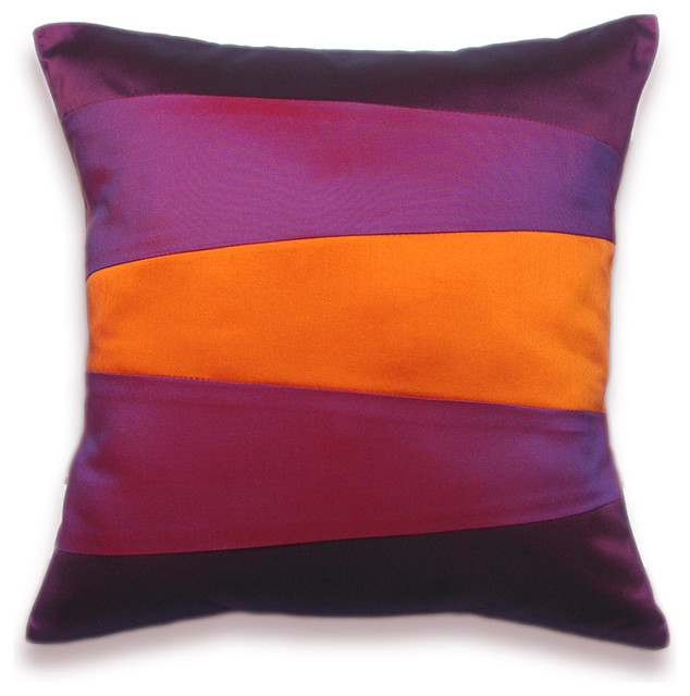 Modern Pillows And Throws : Decorative Pillow Case 16 in SIENNA in Orange Purple And Violet - Modern - Decorative Pillows ...