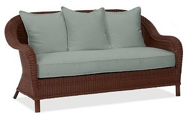 Palmetto All-Weather Wicker Sofa Cushion Slipcover, Sunbrella(R) Spa traditional-outdoor-cushions-and-pillows