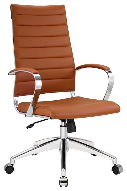 Aria leather high back office chair tan modern office chairs