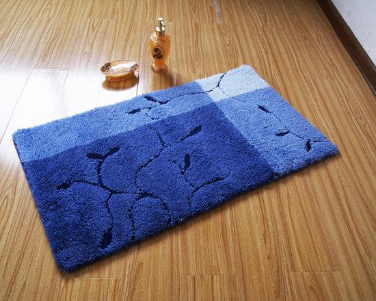 Elegant Blue Branches and Leaves non-slip Floor Rug Bath Mat -