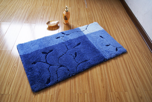 Elegant Blue Branches and Leaves non-slip Floor Rug Bath Mat contemporary bath mats