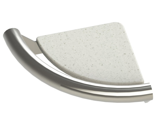 Invisia - Invisia Soap Dish Luxurious Accent Ring, with Integrated Support Rail, Brushed N - Invisia Corner Shelf with Integrated Support Rail