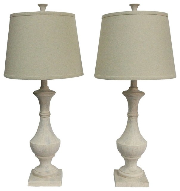Marion Table Lamps Weathered White Set of 2 Farmhouse Table Lamps by