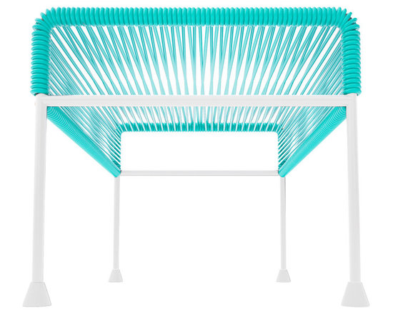 Adam Ottoman, White Frame With Turquoise Weave - Sleek woven vinyl makes this coffee table stand really pop. It's a great option for indoor and outdoor use since the vinyl is UV protected and the metal base is galvanized. The only challenge would be deciding on your favorite color top to pair with the crisp white base.